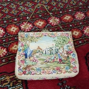 Vintage clasp evening tapestry bag purse